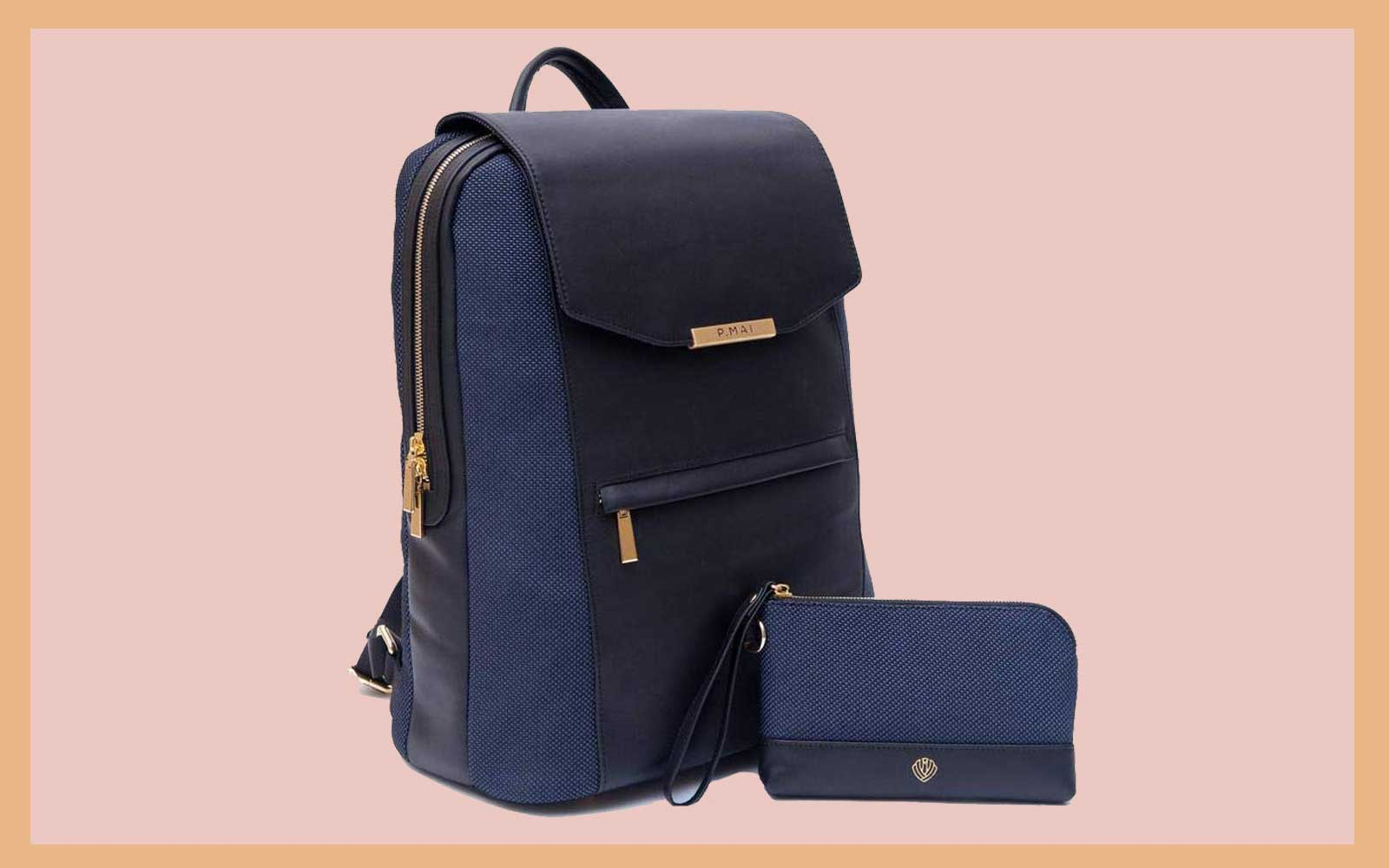 Navy and Black Leather Backpack