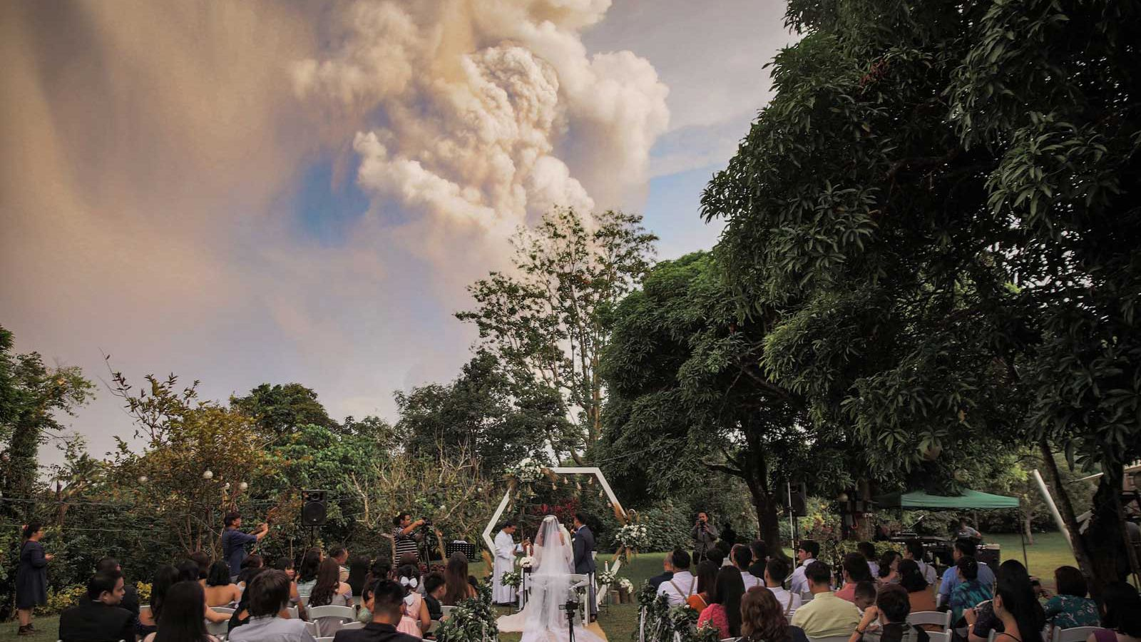 Wedding outside during Taal Volcano eruption in Philippines.