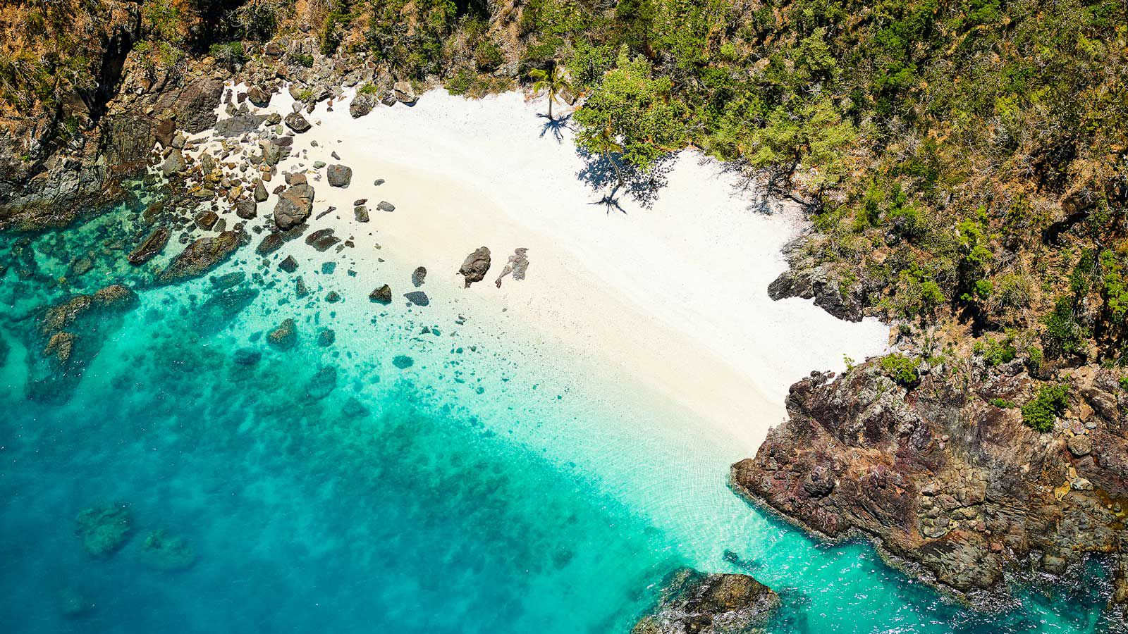 Aerial view of Lovers Cove on Daydream Island in Australia