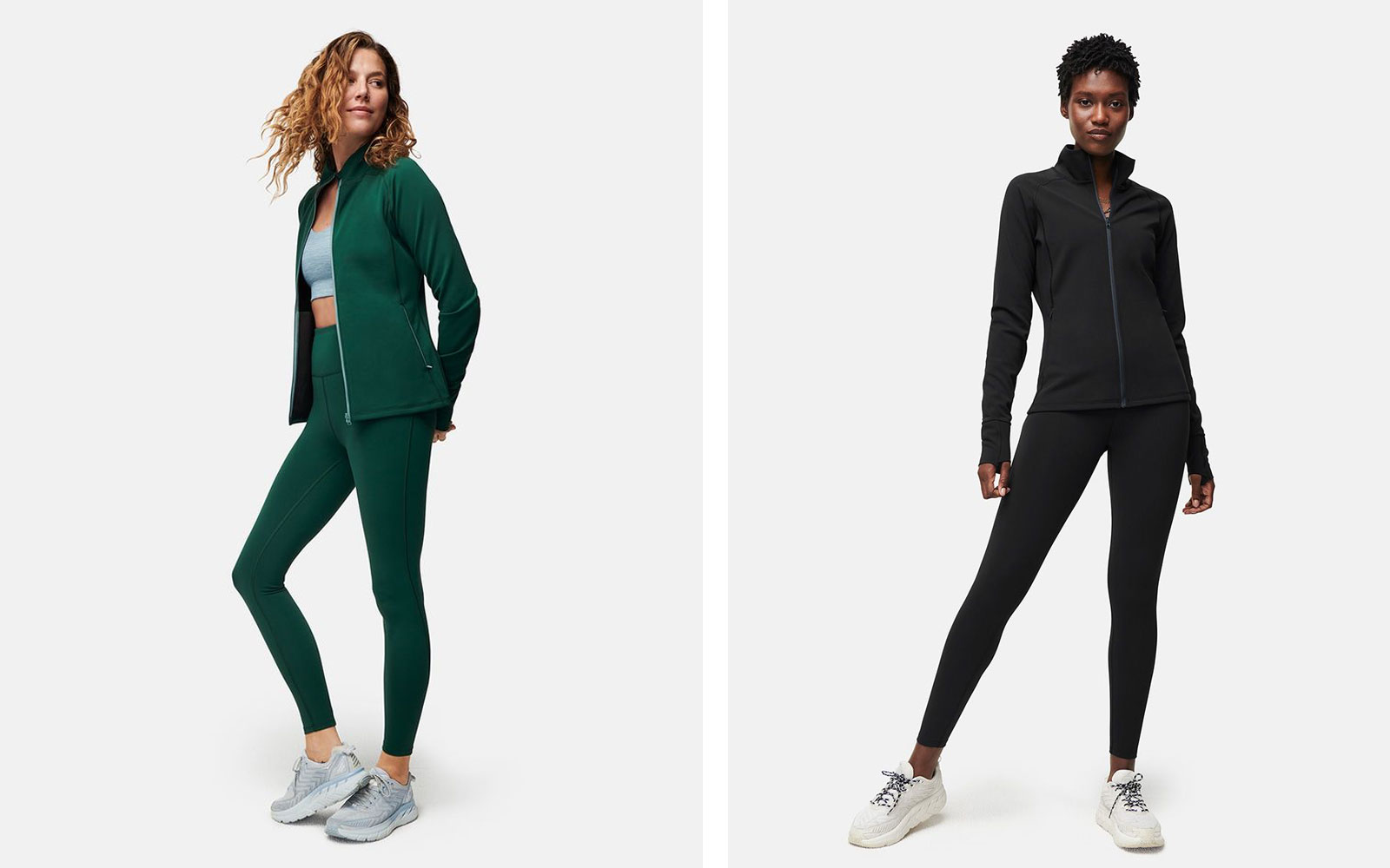 Women's Workout Jacket and Leggings in Green and Black