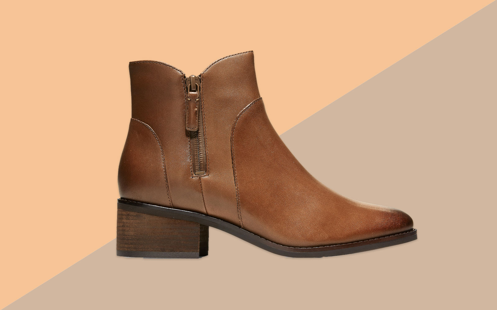 Brown/Tan Leather Ankle Boot