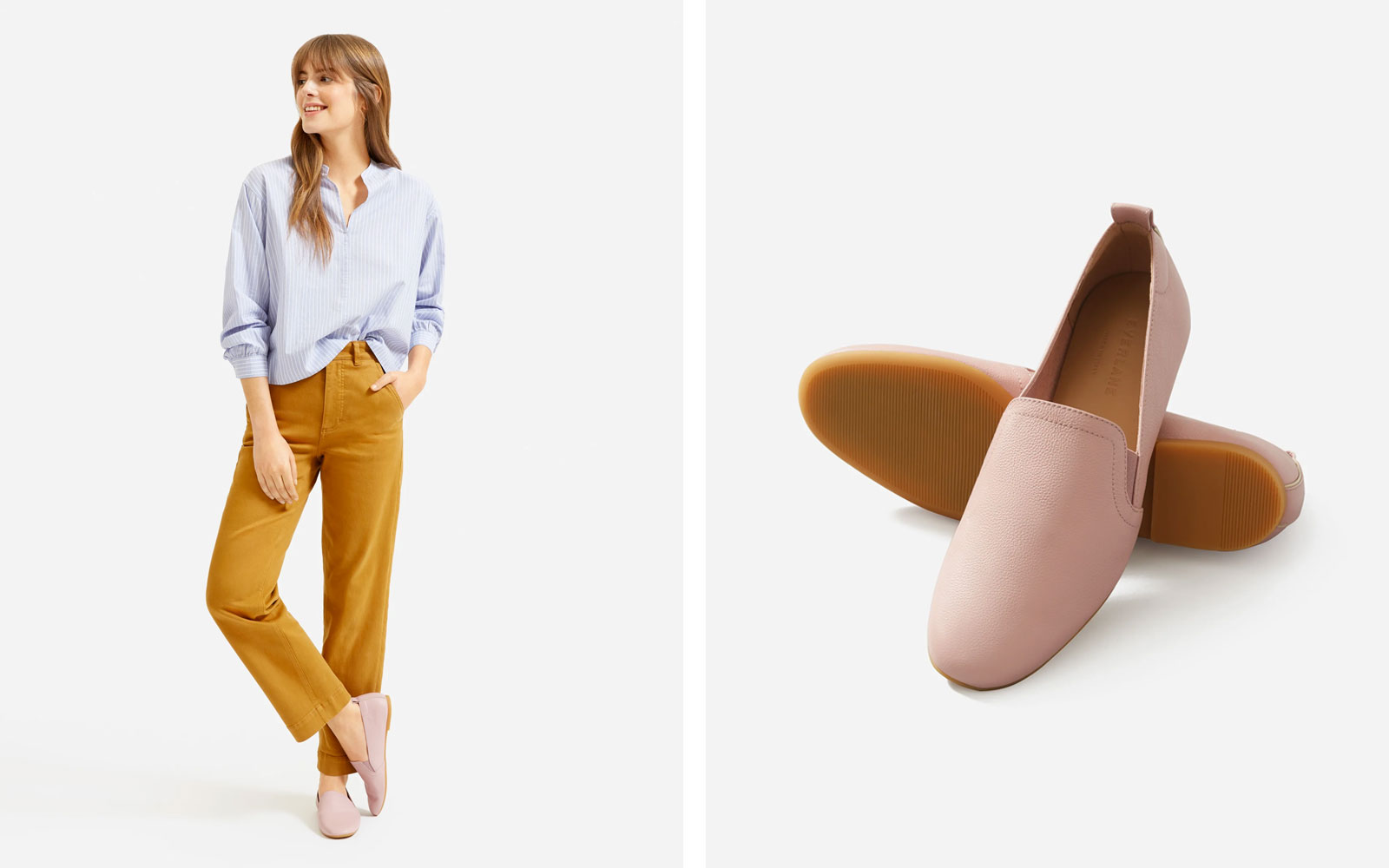 Pink Leather Slip-on Loafers