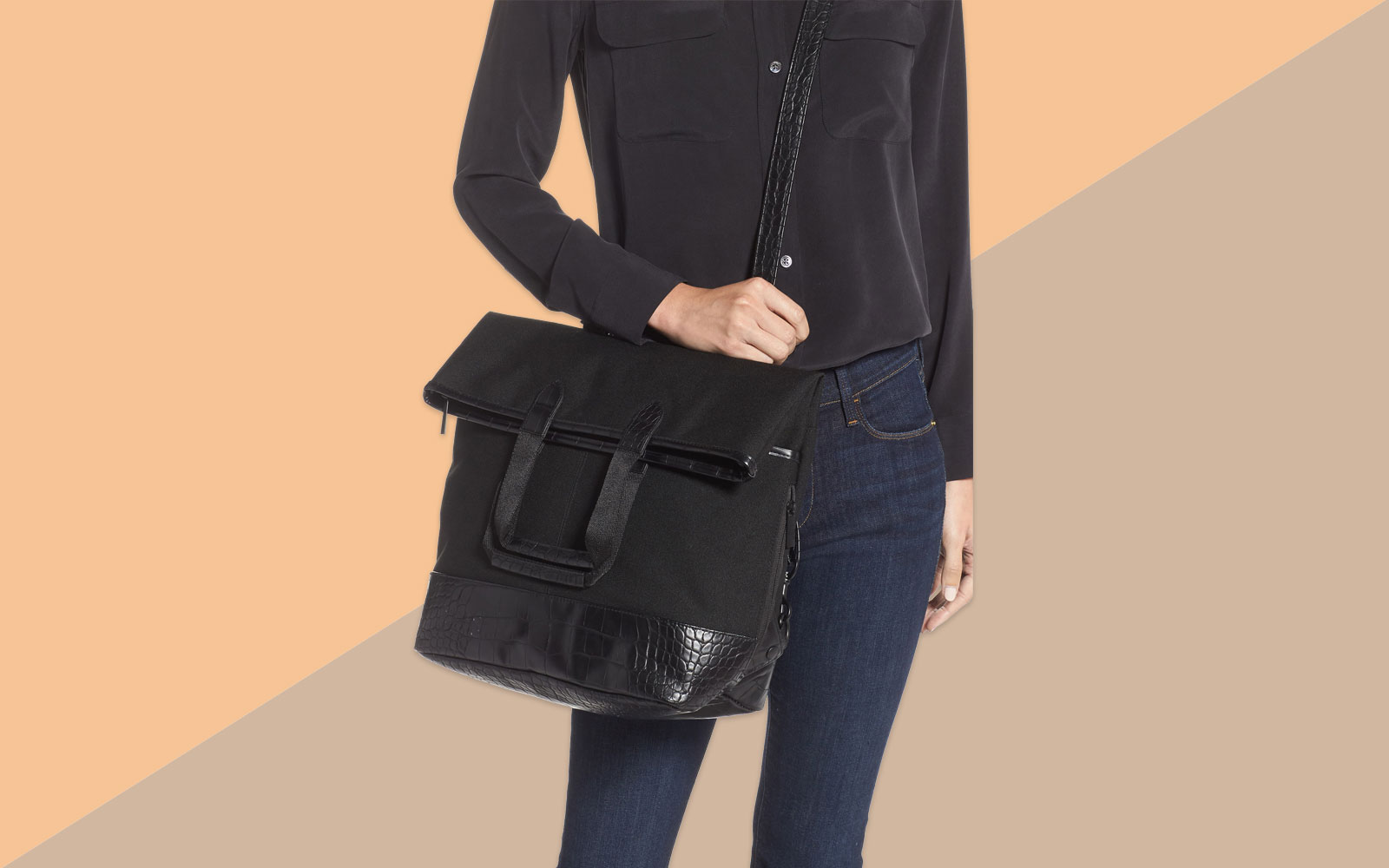 Black Convertible Travel Tote and Backpack