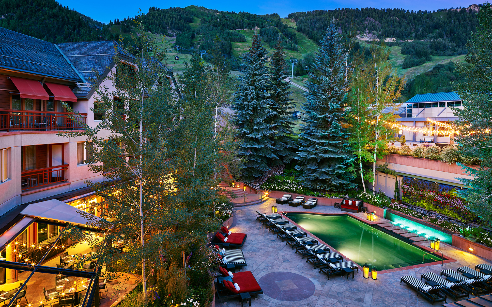 A skier's paradise, the Little Nell boasts Aspen's best address. The ski-in/ski-out resort offers the utmost in luxurious digs, which earned it a score of 94.667 in T+L's Worlds Best survey. Spacious rooms have heated marble floors, fireplaces, soaking tubs, and plush goose-down linens. The pet-friendly hotel even has comfy dog beds and in-room pet menus. The Element 47 lounge is perfect for a meal or après-ski cocktail.