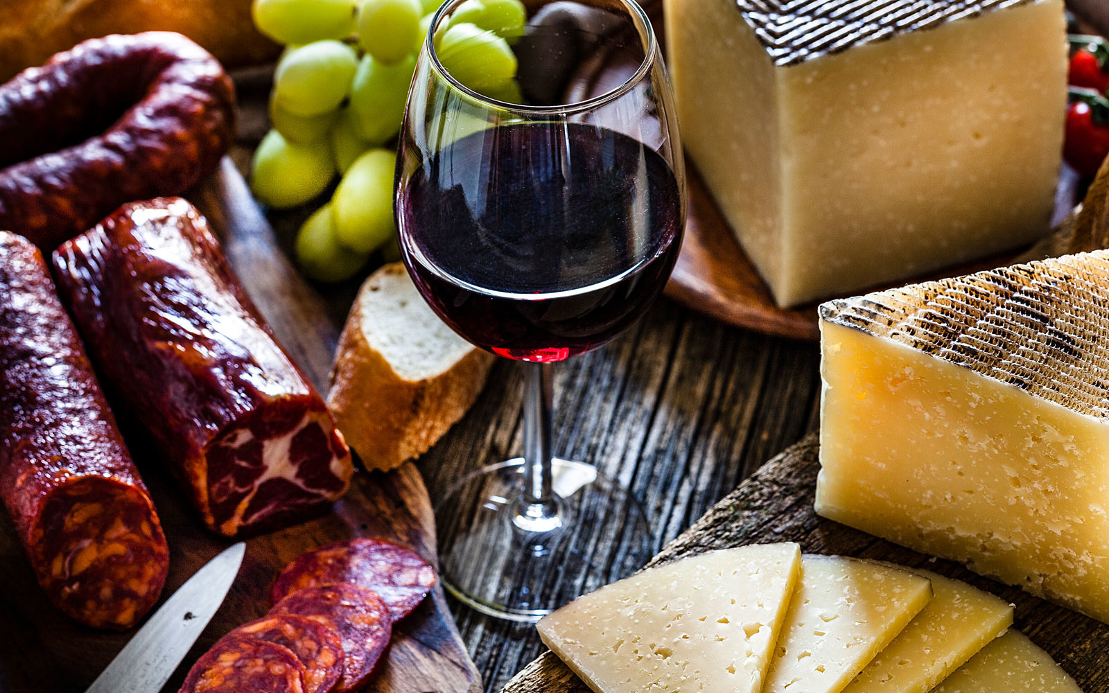 assorted wine and cheese