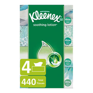 Kleenex Soothing Lotion Facial Tissues, 4 Flat Boxes