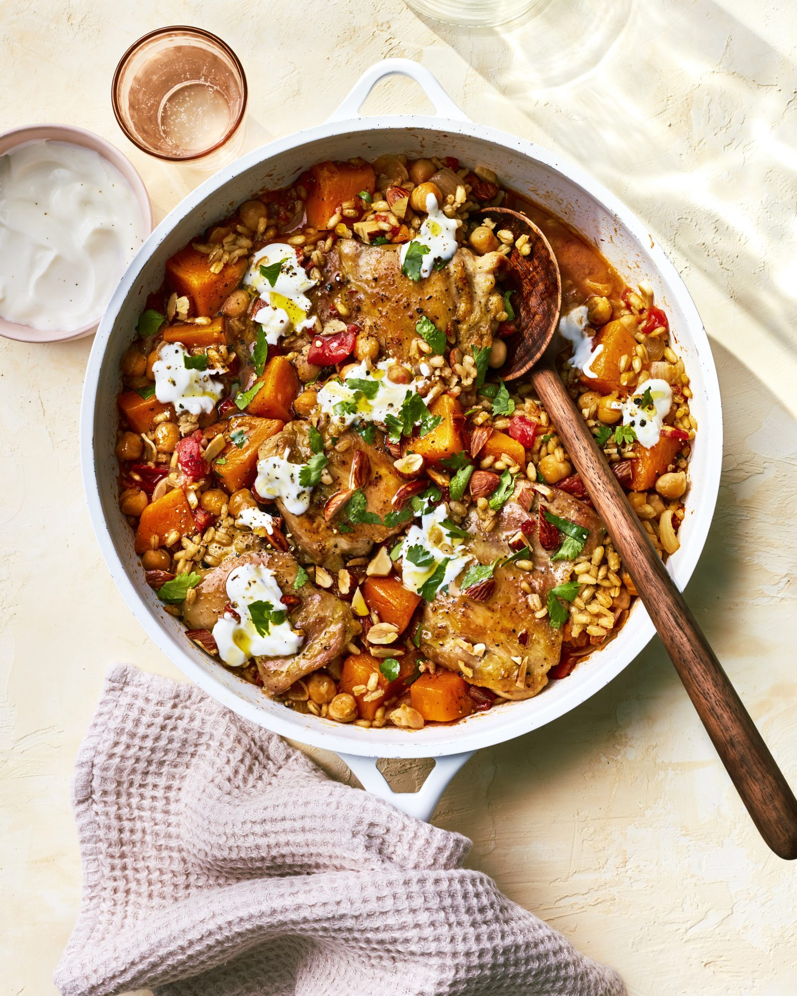 CHICKEN, BUTTERNUT SQUASH, AND BARLEY SKILLET DINNER MARCH 2019 health magazine woman diet