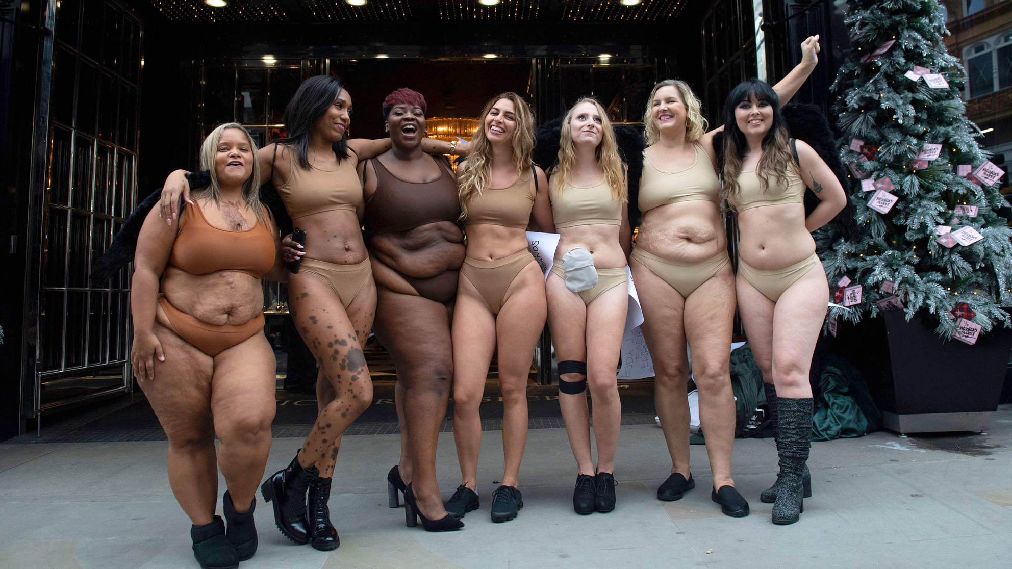 Women Strip Down to Their Underwear to Protest Outside Victoria's Secret Store in London