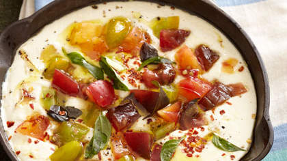 Baked Ricotta With Roasted Garlic and Tomatoes