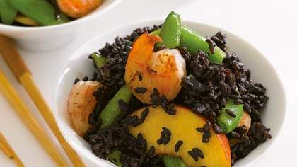 Black Forbidden Rice with Shrimp, Peaches, and Snap Peas