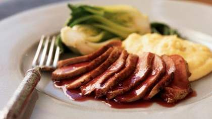 Seared Duck Breast with Ginger-Rhubarb Sauce
