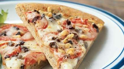 Fontina, Olive, and Tomato Pizza with Basil Whole Wheat Crust