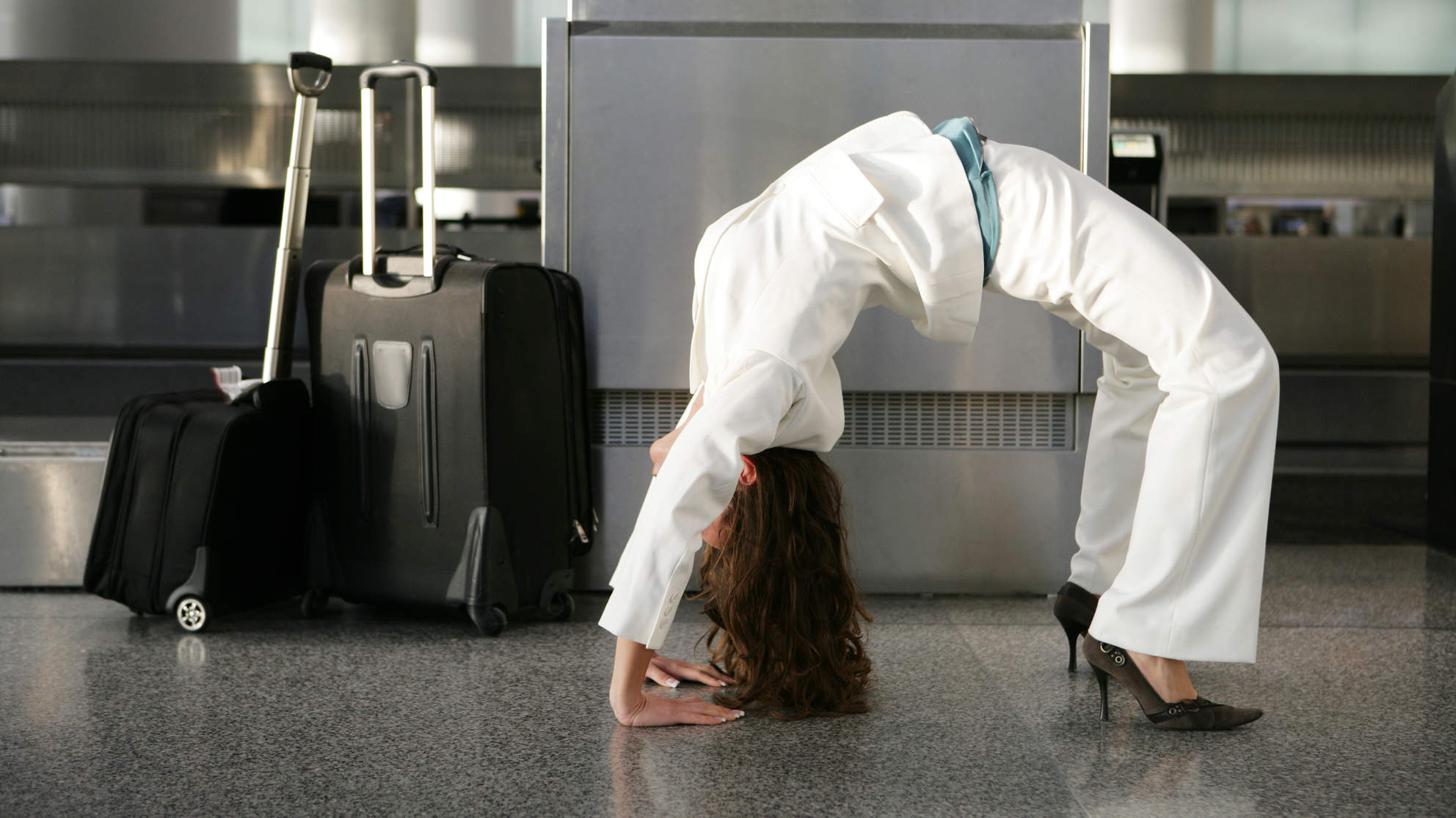 airport-yoga-workout-bridge-pose
