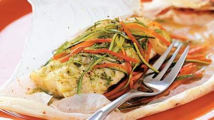 Parchment-baked Chicken with Arugula, Sage, and Rosemary