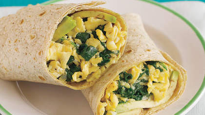 Spinach and Egg Breakfast Wrap with Avocado and Pepper Jack Cheese