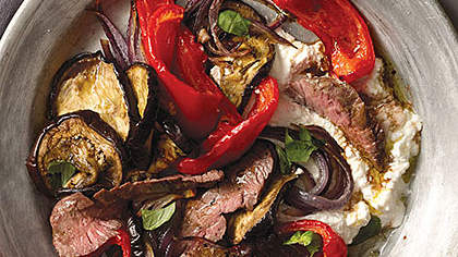 steak-salad-eggplant