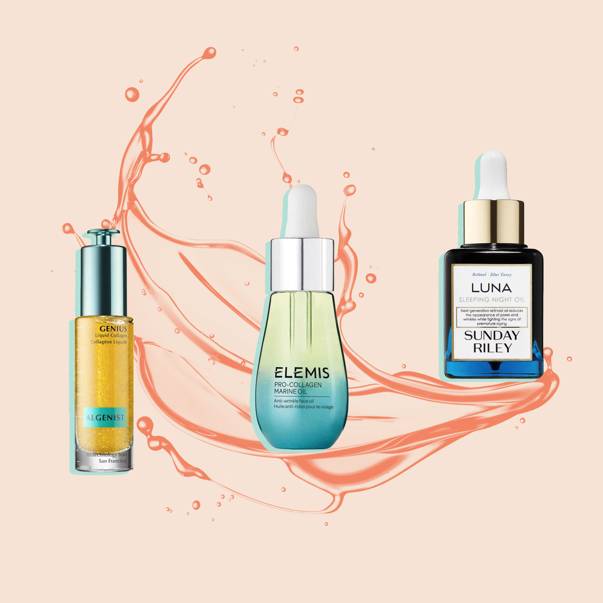 Elemis Pro Collagen Marine Oil anti aging serum 3LAB Anti-Aging Oil  health beauty women woman product Korres Black Pine 3D Sculpting and Firming Sleeping  Algenist Genius Liquid Collagen  Sunday Riley Luna Sleeping Oil  OMOROVICZA Miracle Facial Oil