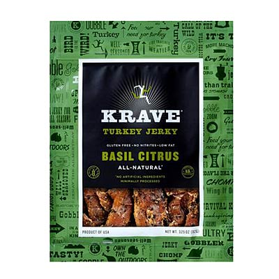 Krave turkey jerky and an orange