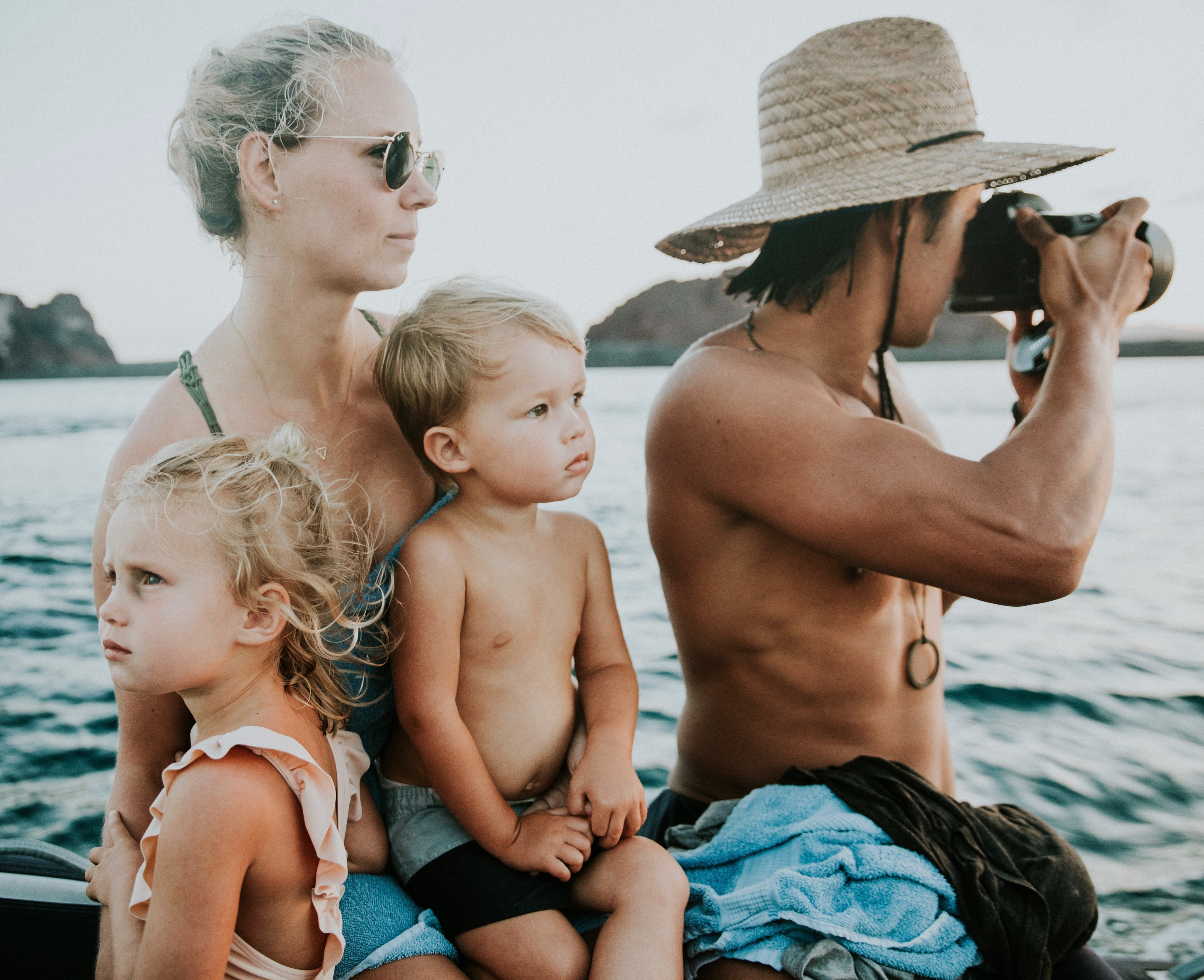 Jessica and Garrett Gee with their kids, Dorothy and Manilla, during a trip to the Galápagos Islands.