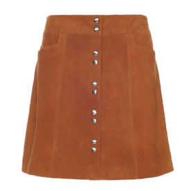 Intermix Suede Snap mini skirt