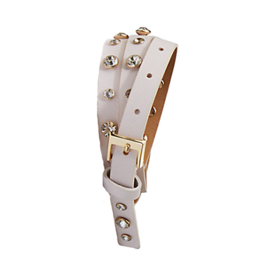 Saffiano Belt with Rhinestone Studs