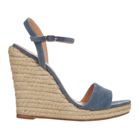 Barneys New York Denim Wedge Espadrille Sandals