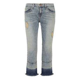 J Brand cropped distressed mid-rise flared jeans
