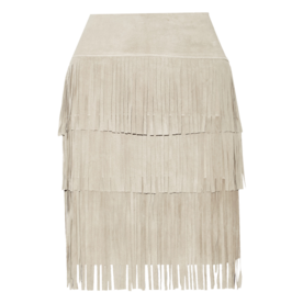 Fringed suede and stretch-modal skirt