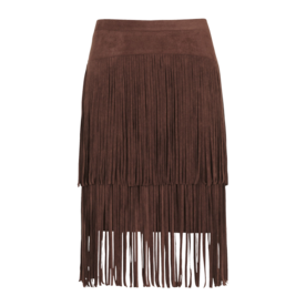 Faux Suede Fringe Pencil Skirt
