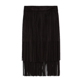 Suede Skirt with Fringe