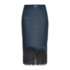 Faux Leather Fringed Midi Skirt