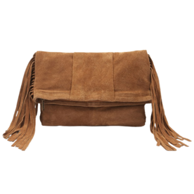 Fringed Genuine Suede Clutch