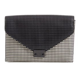 'Lock' Mesh & Leather Clutch