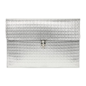 'Skull' Metallic Calfskin Clutch
