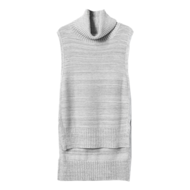 High-Low Sleeveless Turtleneck