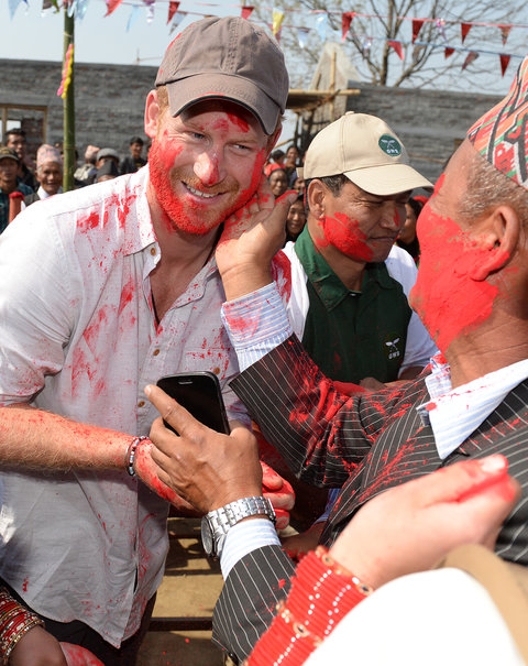 Prince Harry visits Gauda Secondary School and takes part in Holi, the Hindu Festival of Colour, in Okhari, Nepal on Tuesday March 22, 2016. Photo by James Whatling/PA Wire/ABACAPRESS.COM