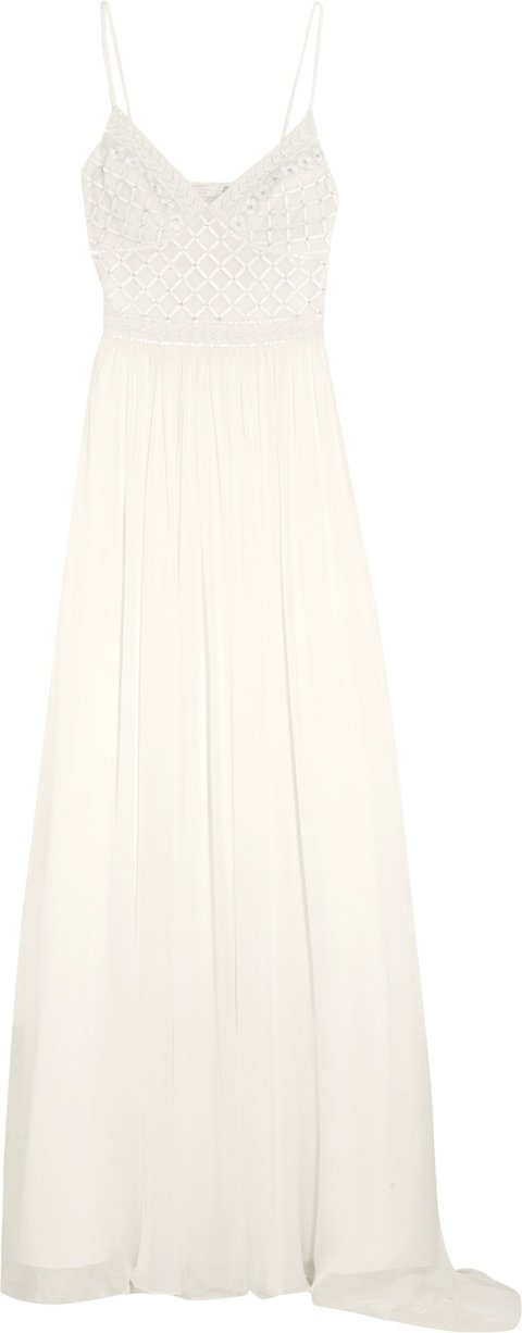 EXCLUSIVE BRIDAL                                                                   ANASTASIA DRESS Silk chiffon thin strap gown w embroidered tulle bodice. Lined in silk satin