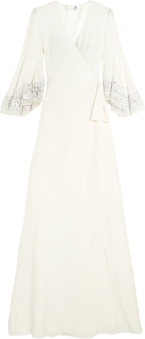 EXCLUSIVE BRIDAL                                                                   ROSEMARY DRESS Crepe de chine wrap gown w embroidered fluted sleeves