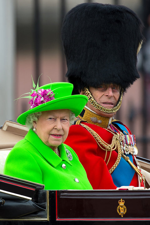 LONDON, ENGLAND - JUNE 11: Queen Elizabeth II and Prince Philip, Duke of Edinburgh sit in a carriage during the Trooping the Colour, this year marking the Queen's 90th birthday at The Mall on June 11, 2016 in London, England. The ceremony is Queen Elizabe