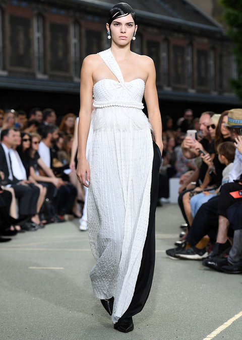 PARIS, FRANCE - JUNE 24:  Kendall Jenner walks the runway during the Givenchy Menswear Spring/Summer 2017 show as part of Paris Fashion Week on June 24, 2016 in Paris, France.  (Photo by Pascal Le Segretain/Getty Images)
