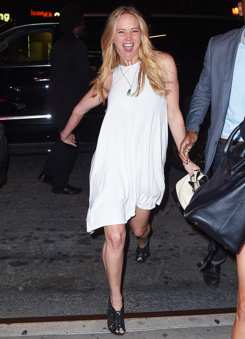 Jennifer Lawrence gets silly for the shutterbugs after dinner at Nobu