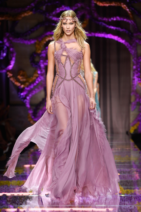 Karlie Kloss walks the runway during the Atelier Versace show as part of Paris Fashion Week Haute Couture Fall/Winter 2015/2016 on July 5, 2015 in Paris, France.