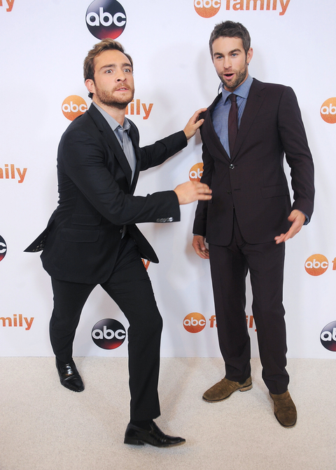 Actors Ed Westwick and Chace Crawford arrive at the Disney ABC Television Group's 2015 TCA Summer Press Tour on August 4, 2015 in Beverly Hills, California.