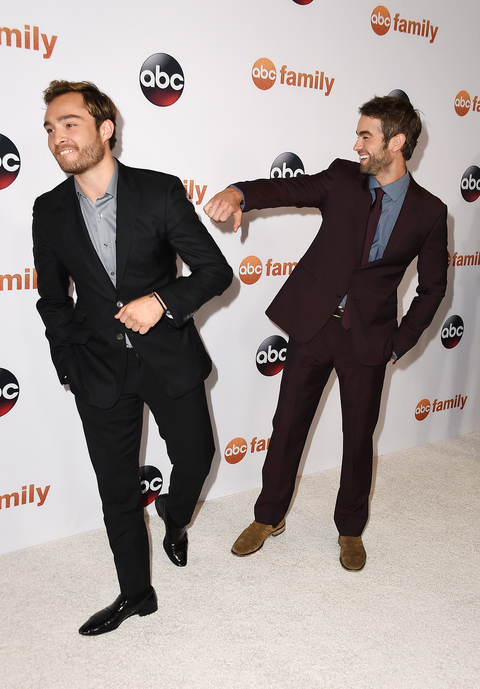 Actors Ed Westwick (L) and Chace Crawford attend Disney ABC Television Group's 2015 TCA Summer Press Tour at the Beverly Hilton Hotel on August 4, 2015 in Beverly Hills, California.