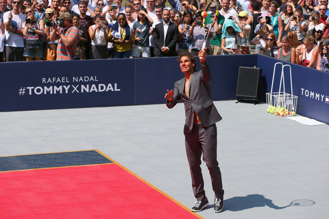 Rafael Nadal plays tennis at the Tommy Hilfiger and Rafael Nadal Global Brand Ambassadorship  Launch at Bryant Park on August 25, 2015 in New York City.