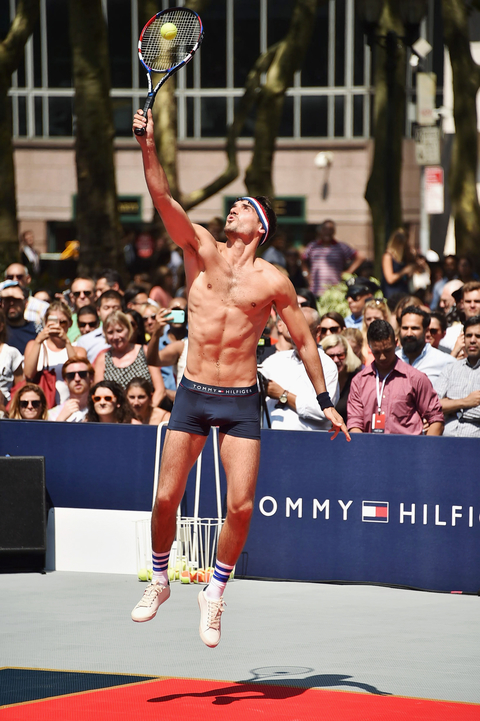 Arthur Kulkov plays tennis at the Tommy Hilfiger and Rafael Nadal Global Brand Ambassadorship Launch  at Bryant Park on August 25, 2015 in New York City.
