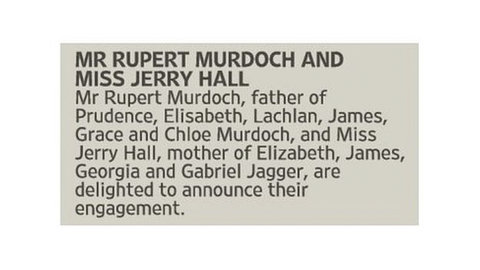 Rupert Murdoch and Jerry Hal - Engaged - Embed