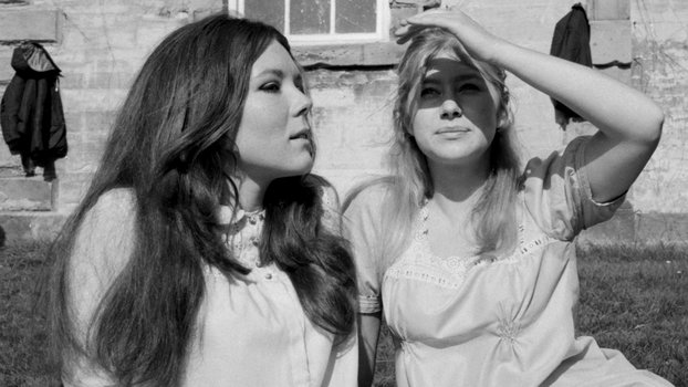 Dame Diana Rigg and Dame Helen Mirren in the grounds at Compton Verney between takes, 1968.