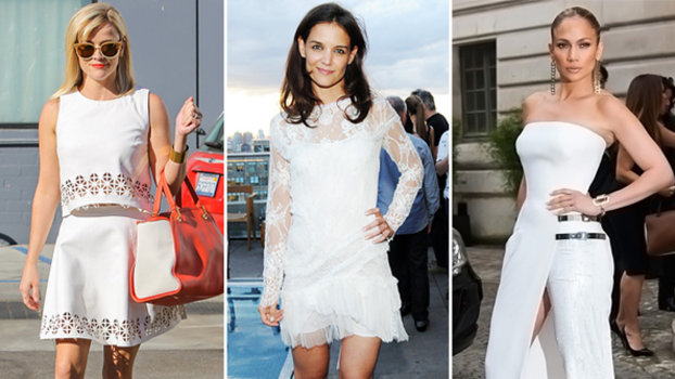 Reese Witherspoon, Katie Holmes, Jennifer Lopez in white outfits.