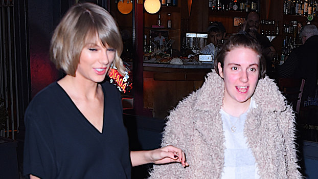 Taylor Swift and Lena Dunham have dinner at Blue Ribbon Brasserie restarant in SoHo on February 21, 2016 in New York City.